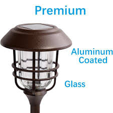 no wire lighting. GIGALUMI Outdoor Solar Lights, Glass And Powder Coated Cast Aluminum Metal Path High No Wire Lighting H