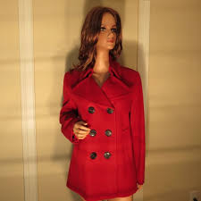 nwt womens auth burberry london red wool cashmere peacoat jacket coat l large