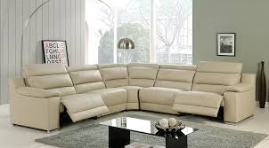 elda beige italian leather sectional sofa