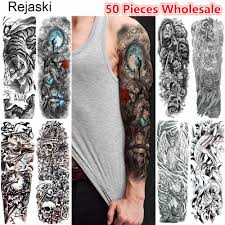 Rejaski 50 штук оптом полный рычаг временный эскиз татуировки череп