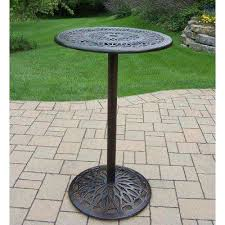 grace round metal bar height outdoor dining table