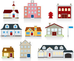 Different Cartoon Houses Elements Vector Free Vector In