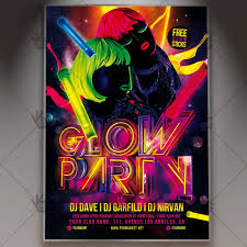 glow flyer glow party premium flyer psd template psdmarket