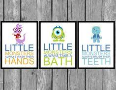 Monsters Inc Bathroom Set. Childrenu0027s Bathroom Artwork/kids Room Decor/kids  Bathroom Wall Art/wash Your Hands