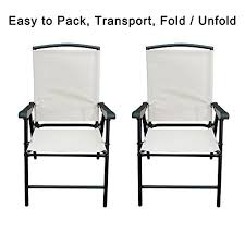 folding lawn chairs. SunLife Modern Outdoor Folding Lawn Chairs With Steel Frame, Portable For Lawn, Garden, Patio, Beach Set Of 2, Black Frame/Beige Fabric V