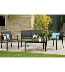 3 piece garden furniture 2 seater bench chair and table lounge set black