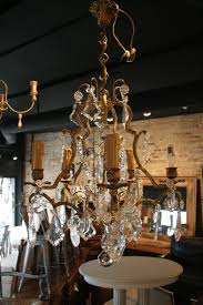 well liked antique french 5 light brass and crystal chandelier sold pertaining to vintage