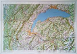 Landschaftsgarten von 1200 m 2 und seiner jahrhundertealten bäumen, in der nähe von see und annehmlichkeiten, darunter 1 neue küche, wäscherei, esszimmer kleine und große wohnzimmer mit. Reliefkarte Genfer See Und Jura 3d Relief Wandkarten