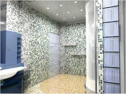 Bathroom Yellow Glass Tile Floor Mosaic Glass Tile Ceiling Ambient Lighting  Blue Bathroom Vanity Shower ...