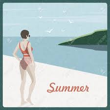 Retro Holidays Summer Holidays Retro Poster Woman The Beach Vintage Background