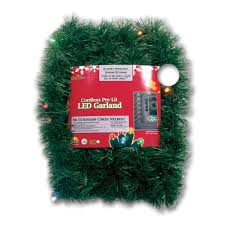 Home Depot Lighted Garland Brite Star Micro Mini 18 Ft Pre Lit Led Battery Operated Pine Garland With Multi Colored Lights