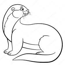 Kleurplaten Kleine Schattige Otter Glimlacht Stockvector Ya