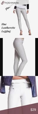 hue faux leather leggings in platinum nwt hue leggings size chart