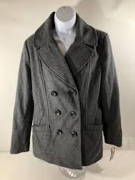 new merona women s classic double ted peacoat gray coat wool blend s 54 99