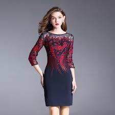 Embroidery Pencil dress <b>2017</b> new luxury spring <b>autumn vintage</b> ...