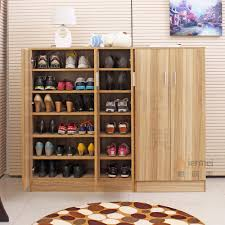 ... Home Furniture Solid Teak Wooden Shoe Rack Cabinets Storage Ideas:  Astounding Wooden Shoe ...