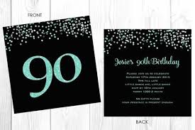 90 Birthday Party Invitations Milestone 90th Birthday Invitation Aqua Glitter