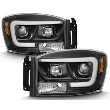 2006 Dodge Ram Led Fog Lights 06 08 Dodge Ram 1500 3500 Led Tube Projector Headlights Black
