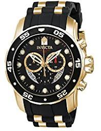invicta watches shop amazon uk invicta men s pro diver quartz watch black dial chronograph display and black pu strap 6981