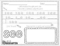 Kids. language arts worksheets for kindergarten: Sight Word Practice ...