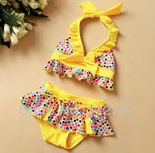 Free shipping 5pcs/lot Colorful dot children bathing suit girl's ...