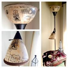 Inexpensive floor lamp with white plastic shades transformed with tissue  paper and MOD podge. The