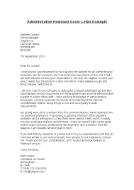 Administrative Cover Letter Example Sample Cover Letters For Administrative Assistant Jobs