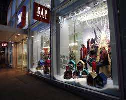 abstract avr led track lighting in the winter retail window display for gap gap