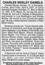 Obituary for CHARLES WESLEY DANIELS, 1937-2007 (Aged 70) - Newspapers.com