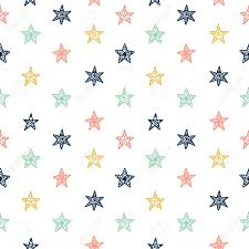 Hand Drawn Star Doodles Seamless Pattern Cute Background For