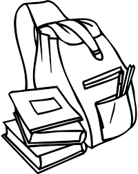 Small Picture coloring page of a backpack and books for preschoolers Coloring
