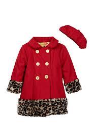 image of penelope mack wild child faux fur trim peacoat cap set toddler girls