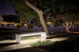 bench lighting. Vector Seating System Shown In 6-foot, Backless Configuration With LED Accent Lighting; Argento Texture Powdercoated Frame And Aluminum Slats Bench Lighting