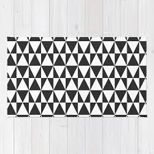 black white geometric hipster triangles pattern rug