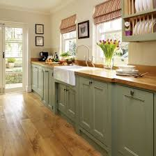 cottage style painted kitchen cabinets. 1800 style kitchen | green-painted-kitchen-galley-furniture-beautiful- cottage painted cabinets o