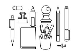 ステーショナリーとペンイラスト 素材材料ダウンロード ベクトル