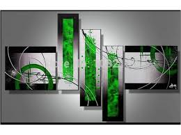 wall art black white and green