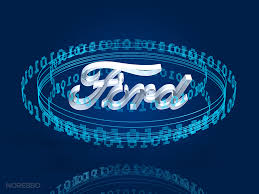 cool ford logos. 3d rendering of a ring transparent binary digits orbiting around frosted glass ford logo over dark blue background cool logos