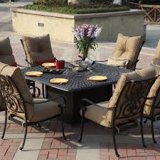 darlee santa anita 9 piece cast aluminum patio fire pit dining set bbq guys