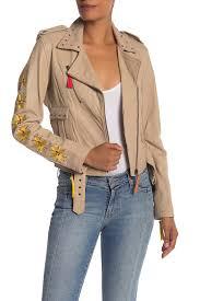 image of nicole miller nailhead embroidered stud trim moto lamb leather jacket