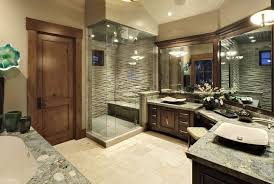 beautiful bathroom lighting. Rich Stone And Tile Work In This Beautiful Bathroom Create A Stunning Backdrop For The Two Lighting