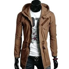 hooded trench coat mens get ations a long cotton saddle brown plus size men stylish slim