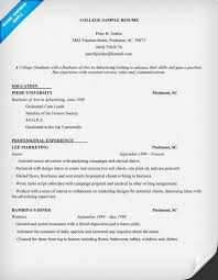 Resume Example College Student Musiccityspiritsandcocktail Com