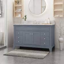 Feldspar Contemporary 48 Wood Single Sink Bathroom Vanity With Marble Gdfstudio