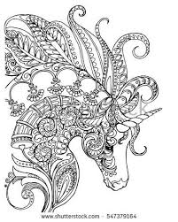 elegant zentangle patterned unicorn doodle page for colouring book vector design