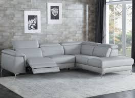 cinque light gray leather power reclining sectional main image