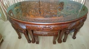 oriental chinese carved coffee table with stools house clearance