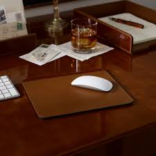 limited ion design stock ralph lauren alligator embossed saddle brown leather mouse pad 10 x 9 inches hotel contract orders only