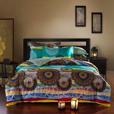 bright colored oriental bohemian style exotic bedding set queen size cotton bed sheets pillowcase duvet cover jpg 640 640
