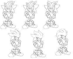supersonic and supershadow super silver coloring pages sonic shadow